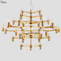 30 light Nemo Crown Major Led Chrome Pendant Chandelier Nordic Minimalism Gold Candle Frosted Glass G9 Chandelier Lighting