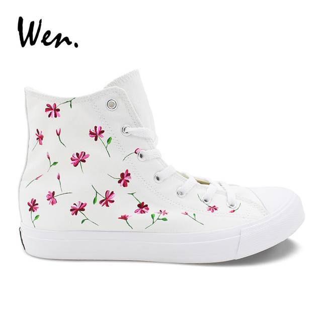 Wen hand painted flower shoes design pink floral high top white wen hand painted flower shoes design pink floral high top white women canvas sneakers girl shoes mightylinksfo