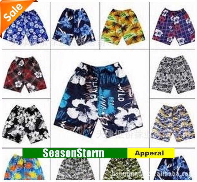 Retail Mens Leisure Print Beach Shorts / Sport Pants Mixed Style (SU-65)