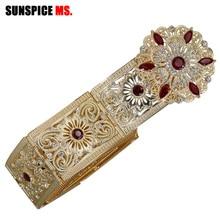 Sunspicems fas kemer kaftan takı kadınlar için altın renk kırmızı yeşil kristal göbek zinciri
