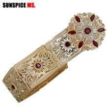 Sunspicems marokański pasek kaftan biżuteria dla kobiet złoty kolor czerwony zielony kryształowy łańcuszek na brzuch