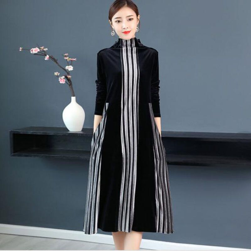 women black Velvet Striped party dress women Autumn Elegant long dress 3XL vestido lady Vintage midi dress 2019