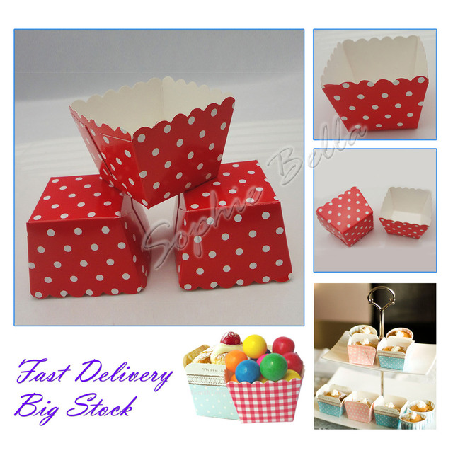 Wholesale!100pcs F001 Lovely Polka Dots Square Baking Cups,baking tools for cakes,Muffin Paper Cups,Wholesale cupcake boxes D