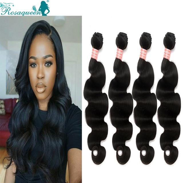 Peruvian Virgin Hair 4 Bundles Peruvian Virgin Hair Body Wave 6A Peruvian Body Wave Rosa Queen Hair Products Human Hair Weave