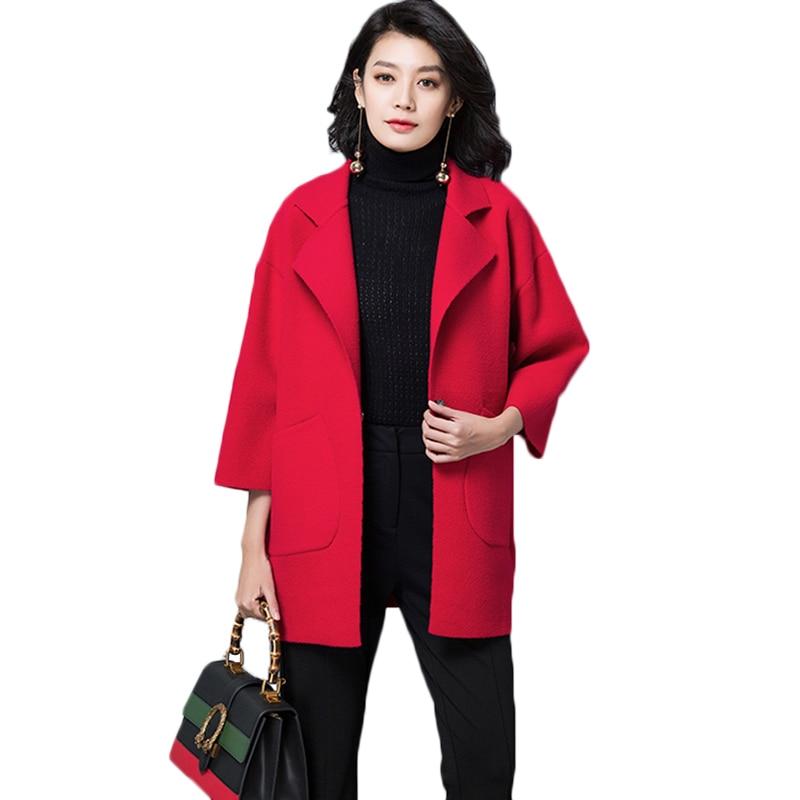 face Green Taille Double pink Longues Cachemire Femmes Survêtement Laine Black 2018 Manteau Lâche De 6xl olive Plus M Mode La red Automne Printemps Manteaux Fq5ww1