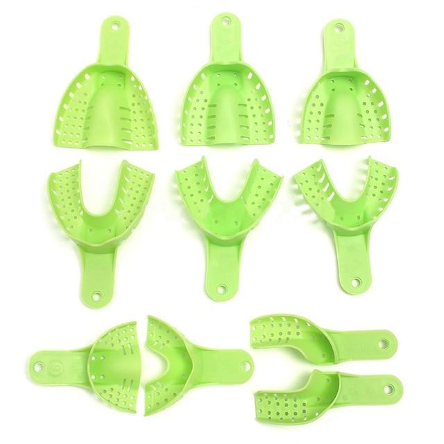 10 piezas de plástico Metal materiales de impresión Dental bandejas suministro Central dientes soporte duradero para herramientas de dientes