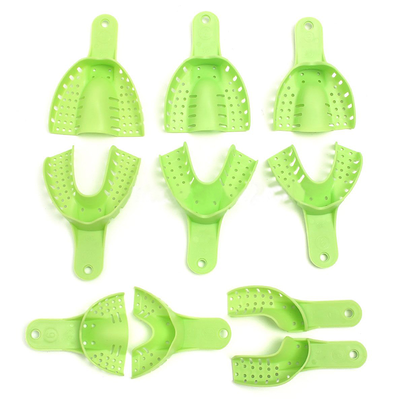 10pcs Plastic Metal Materials Dental Impression Trays Central Supply Teeth Holder Durable For Teeth Tools