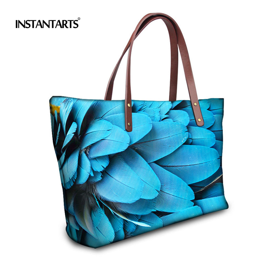 INSTANTARTS Casual Women Large Handbag Unique Animal Peacock Feather Print Ladies Neoprene Tote Shoulder Bags Female Travel Bags inc new white black women s large l feather print seamed shift dress $79 013