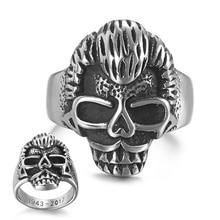 Johnny Hallyday vintage rock punk skull rings with date inside for men women stainless steel Hip Hop Cool males Finger ring punk skull rivet decorated bracelet with ring for women