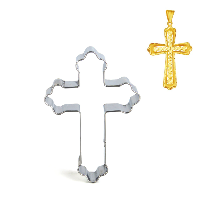 Acero inoxidable de Halloween Cross Cookie Cutter Cake Decorating Fondant Cutters Tool Cookies Biscoito Hornear herramienta