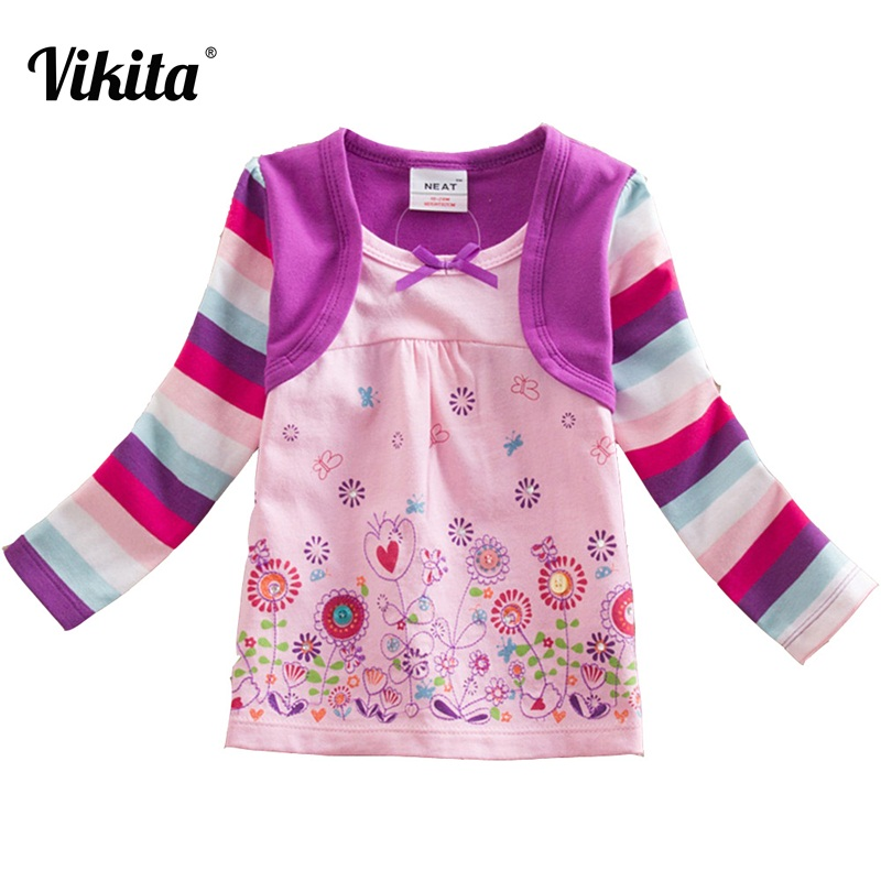 VIKITA Brand Girls t shirt Long Sleeve Girls t-shirt Cute Animal Child Cartoon Shirts T-shirts for Children Tops Tees L62123 Mix