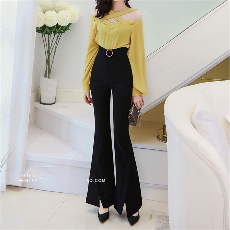 Women's high waist casual   pants   Office Lady OL Flare   pants   wild Slim   wide     leg     pants   autumn women's 2018 new Flare trousers