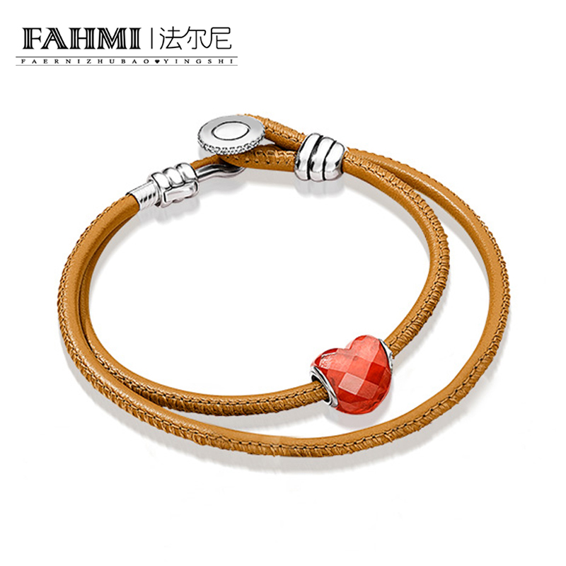 FAHMI 100% 925 Sterling Silver Summer Lover Set 597194CGT-D MOMENTS GOLDEN TAN DOUBLE LEATHER BRACELET WITH  BUTTON CLASFAHMI 100% 925 Sterling Silver Summer Lover Set 597194CGT-D MOMENTS GOLDEN TAN DOUBLE LEATHER BRACELET WITH  BUTTON CLAS