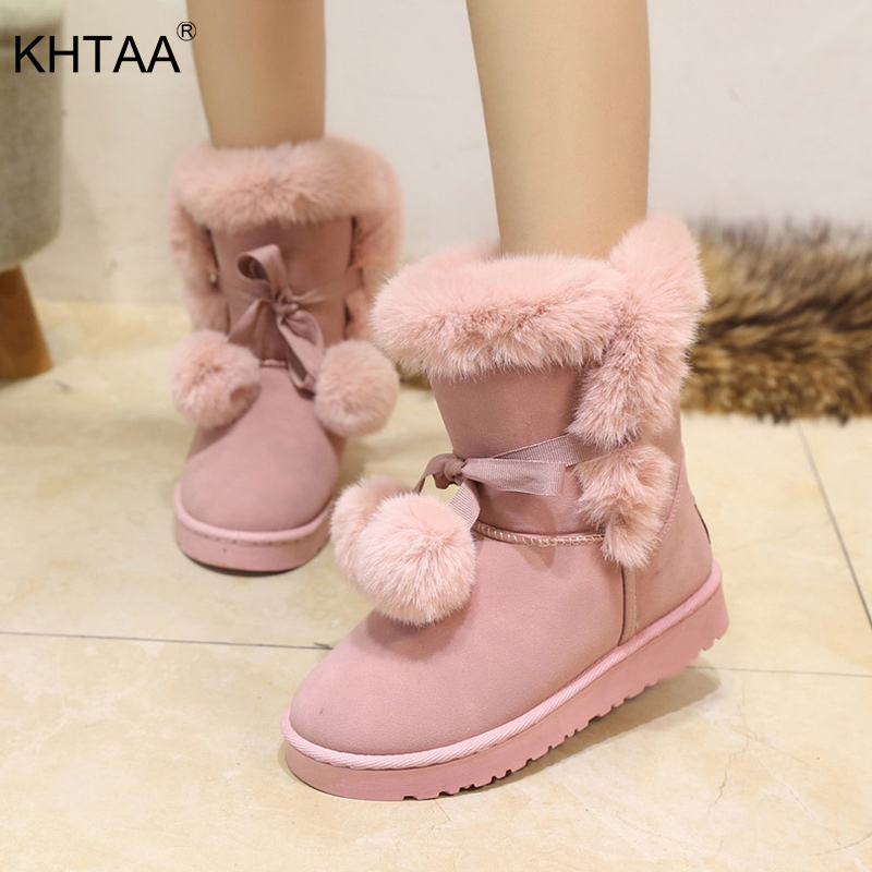 2bc7e9d9a992 KHTAA Women s Winter Warm Fur Ball Cute Suede Bowtie Ankle Snow Boots  Female Non Slip Shoes Ladies Comfortable Fashion Footwear-in Ankle Boots  from Shoes on ...