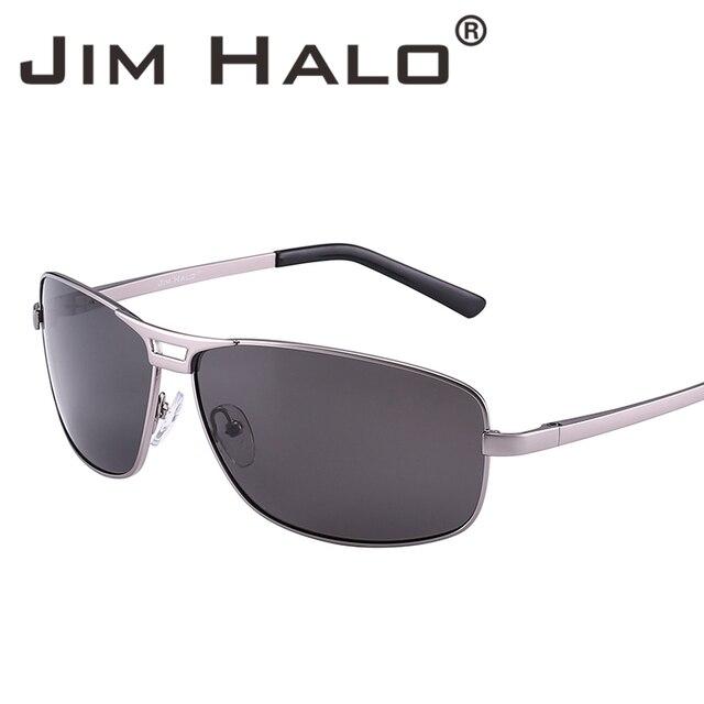 83295bc735 Jim Halo Classic Polarized Rectangle Spring Hinge Driving Fishing Sunglasses  Men Silver Metal Frame Aviation UV400 Sun Glasses