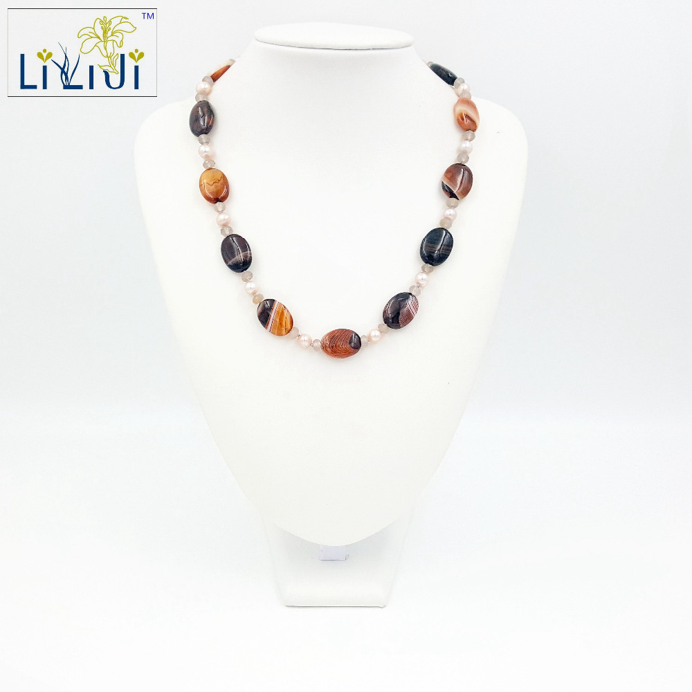 цена на Lii Ji Natural Onyx Agate Freshwater Pearl Grey Agate with Jade Toggle Clasp Necklace