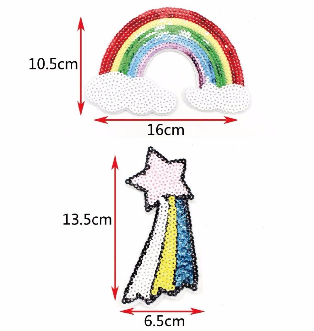 ᗖ1 unids Costura ropa Lentejuelas Arco Iris caballo Bordado Parches ...