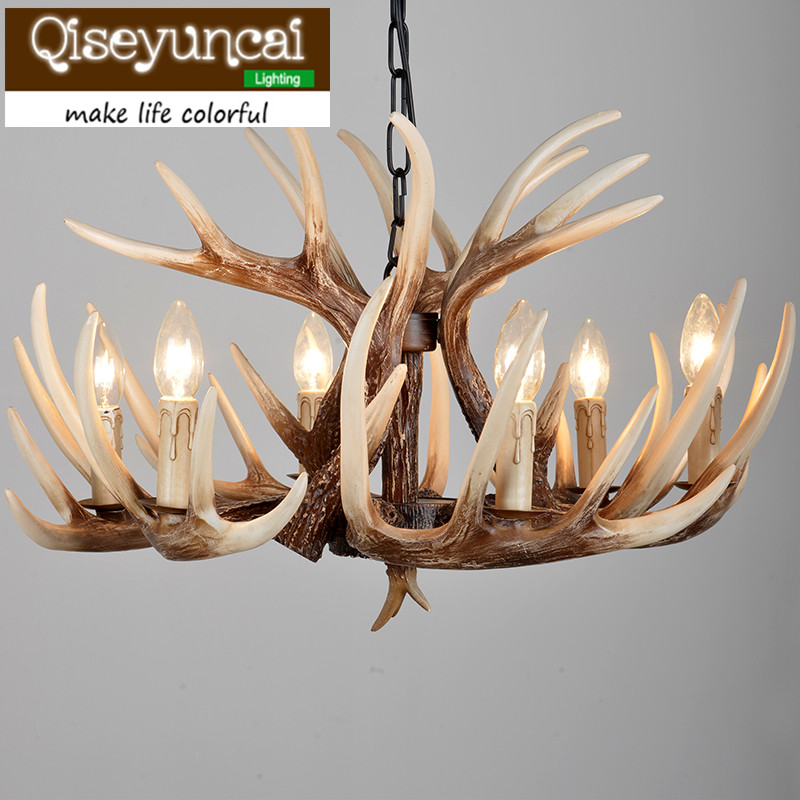 Qiseyuncai American Country Lifestyle Antlers Antique color Yurts 6 head Pendant Lamps Living Room Villas Club Art Lighting