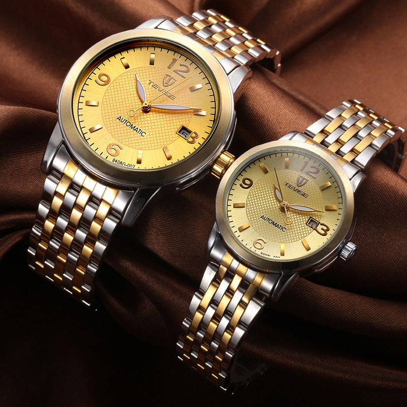 TEVISE Mechanical watches Lovers men and women Retro Strip waterproof Watch stainless steel Automatic mechanical Watch