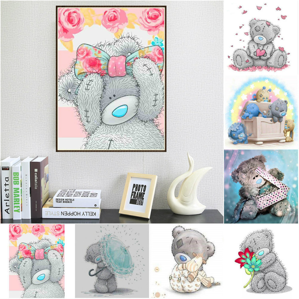 5D Diamond Teddy Bear Painting Rhinestone Diamond Paint Cross Stitch Living Room Needlework Kits DIY Diamond Embroidery