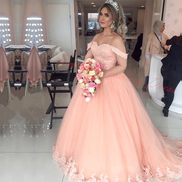 Blush Pink Ball Gown Arabic Wedding Dress 2017 Vestidos de casamento     Blush Pink Ball Gown Arabic Wedding Dress 2017 Vestidos de casamento  Sweetheart Beaded Sweep Train Lace