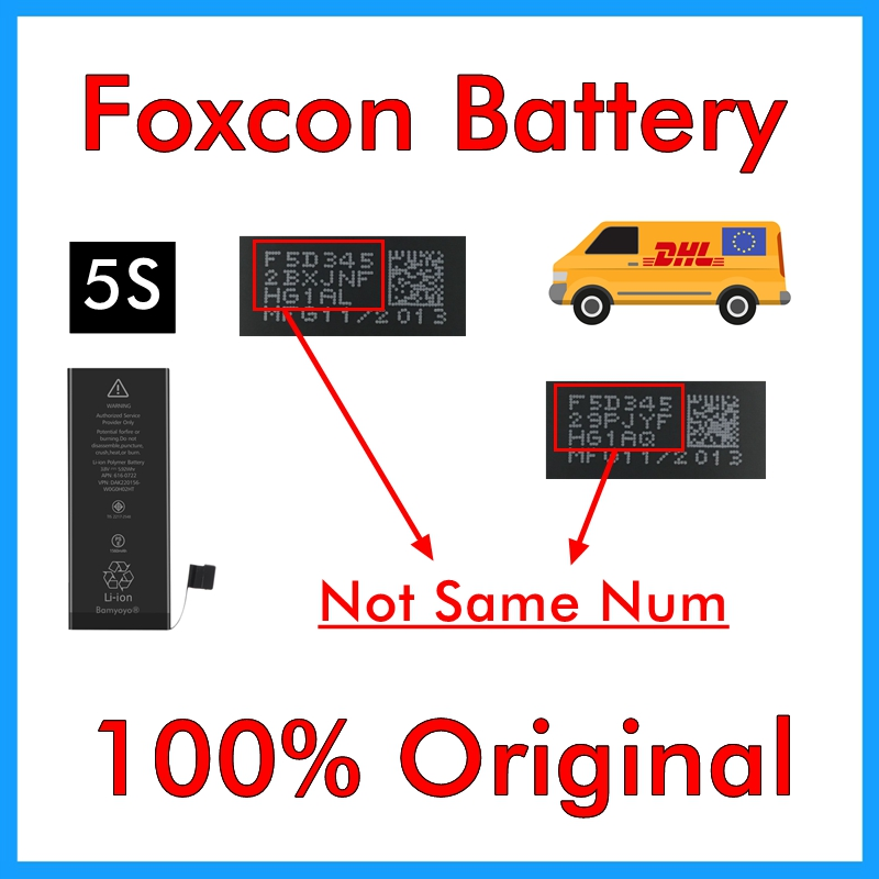 BMT original 10pcs/lot Foxcon Battery for iPhone 5S 0 cycle 1560mAh Genuine 0 cycle internal parts replacement in 2013-in Mobile Phone Batteries from Cellphones & Telecommunications