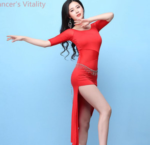 Image 5 - Short Sleeves Dress for Women Belly Indian Dance Cut out Suit Girls Lady Belly Sexy Perspective Dancewear Competition Practice