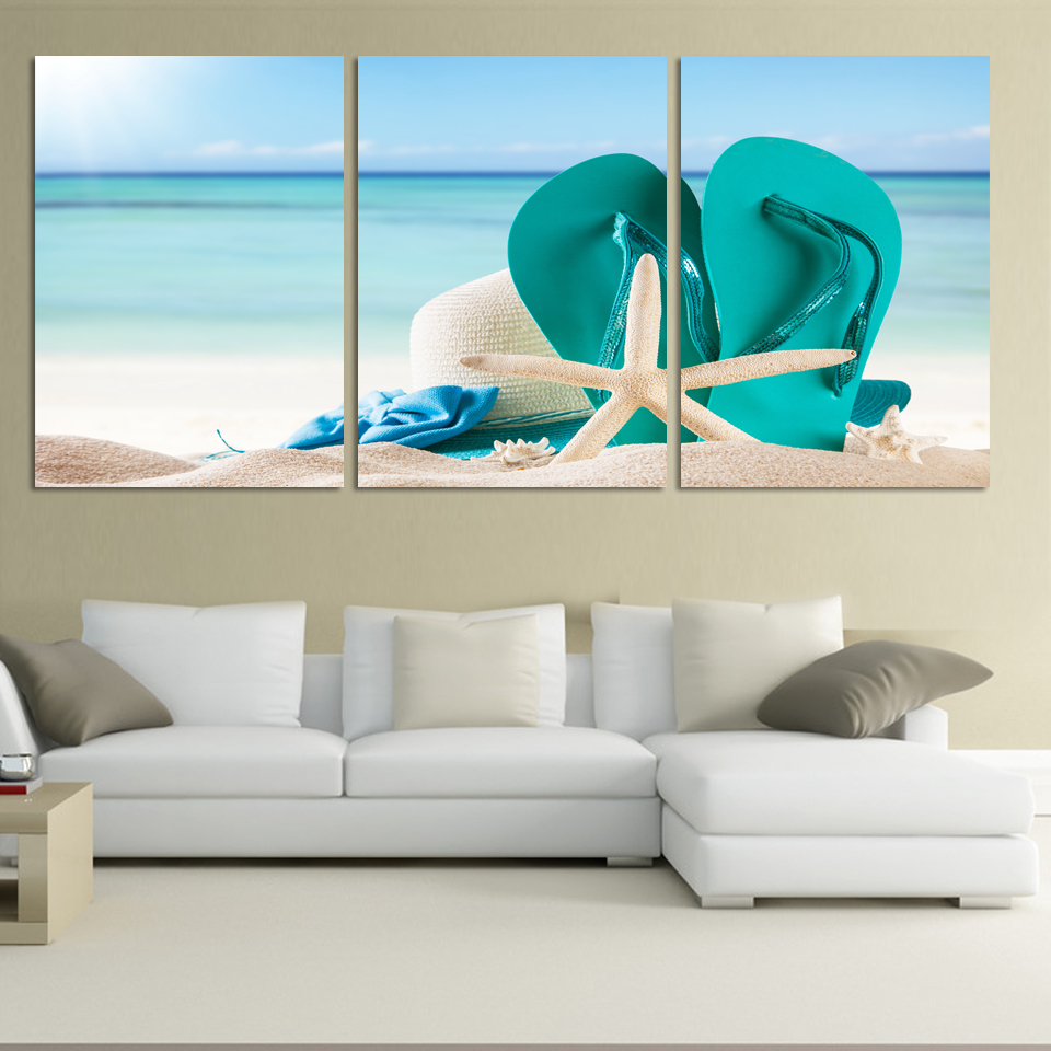 3 panel large beach canvas seascapes shose and star for Discount wall decor home accents