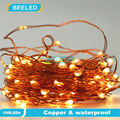Flexible Copper LED Strip Lights Battery Powered Wire 10M 100 leds Waterproof Outdoor Christmas lighting clear battery box