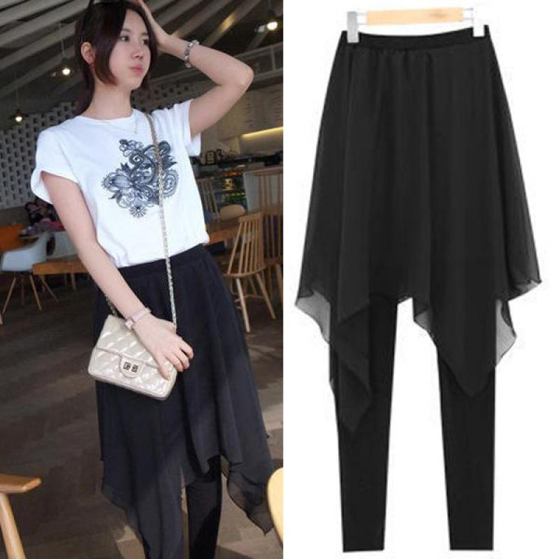 2019 New Spring And Summer Women's Korean Irregular Chiffon Skirt Backing False Two Xl Slim Skirt   Leggings   Free Shipping