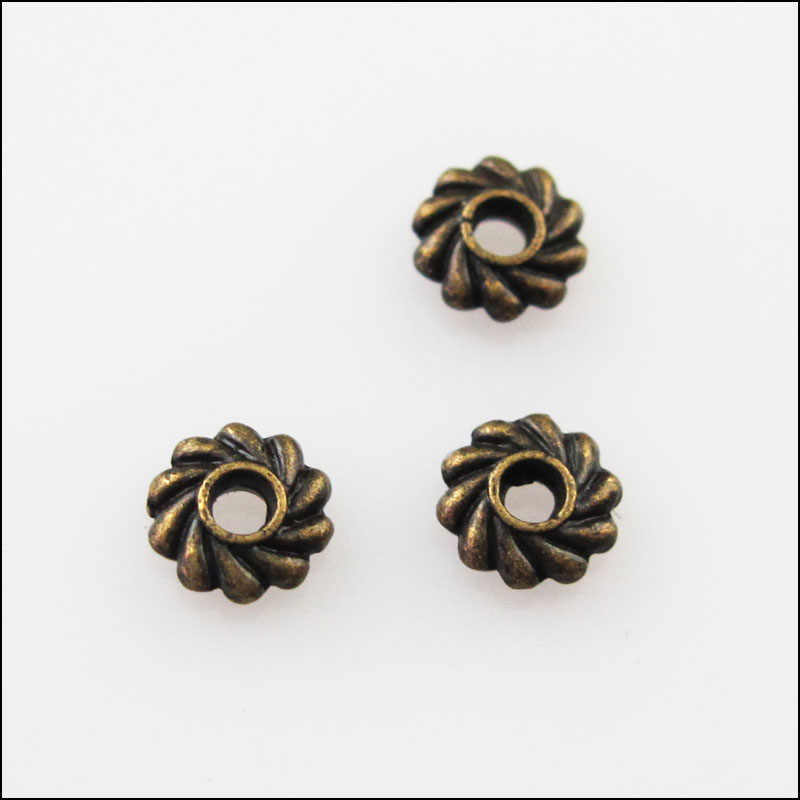 Nieuwe 150Pcs Antiqued Brons Kleur Bloem Gear Spacer Beads 5 Mm