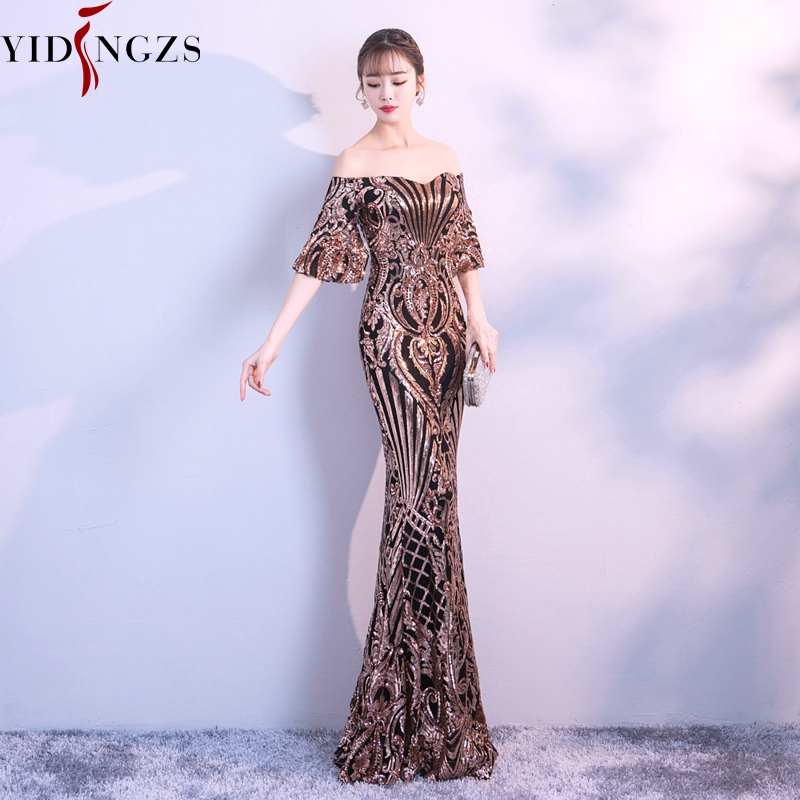 Image 2 - YIDINGZS New Flare Sleeve Black Gold Heavy Sequins Evening Dress 2019 Boat Neck Formal Evening Party Dress YD260-in Evening Dresses from Weddings & Events