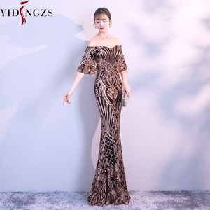 Image 2 - YIDINGZS New Flare Sleeve Black Gold Heavy Sequins Evening Dress 2020 Boat Neck Formal Evening Party Dress YD260