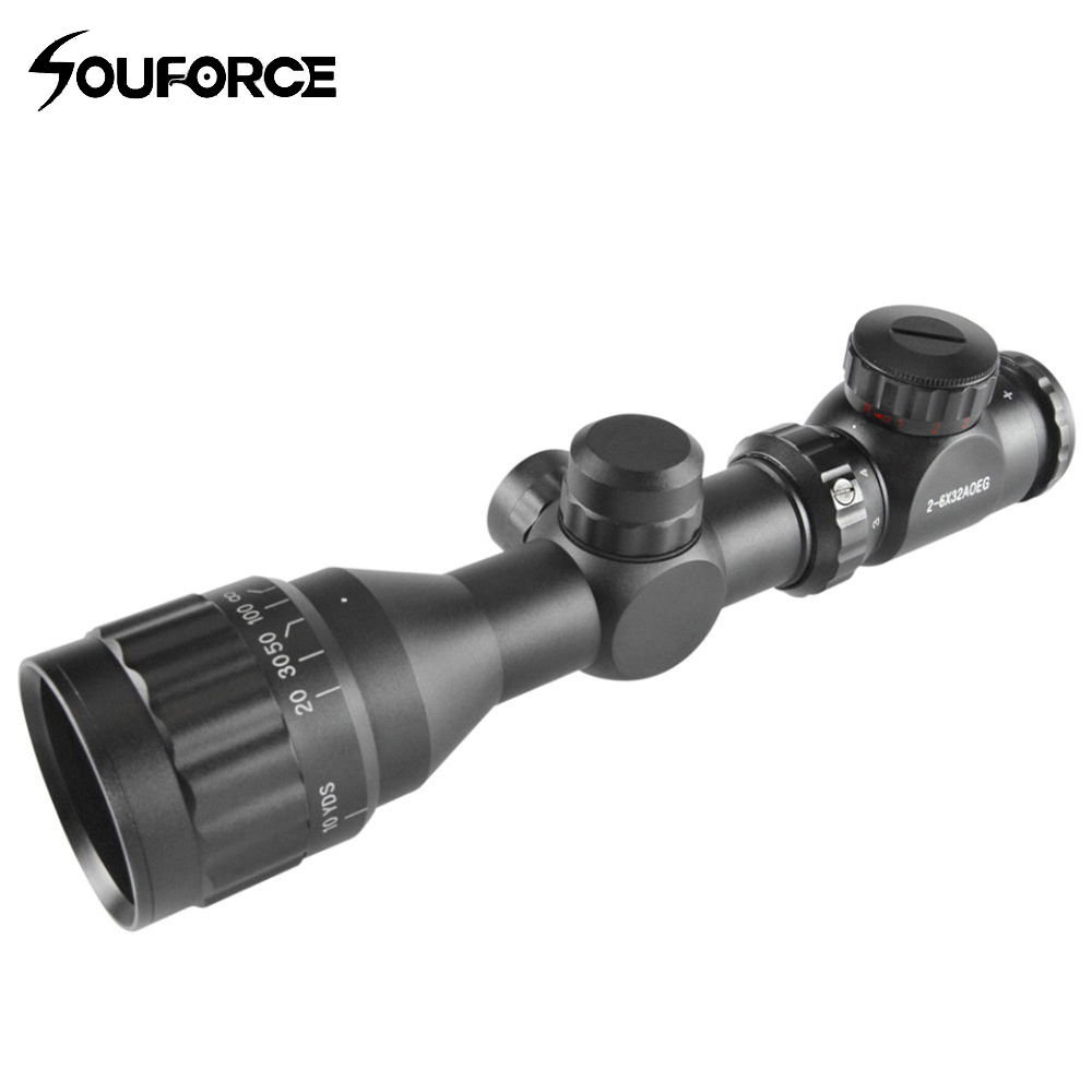 Rifle Scope 2-6x32 AOE Red Green Mil-dot Short Adjustable Sight Scope with Picatinny Rail Mount 20mm for Hunting