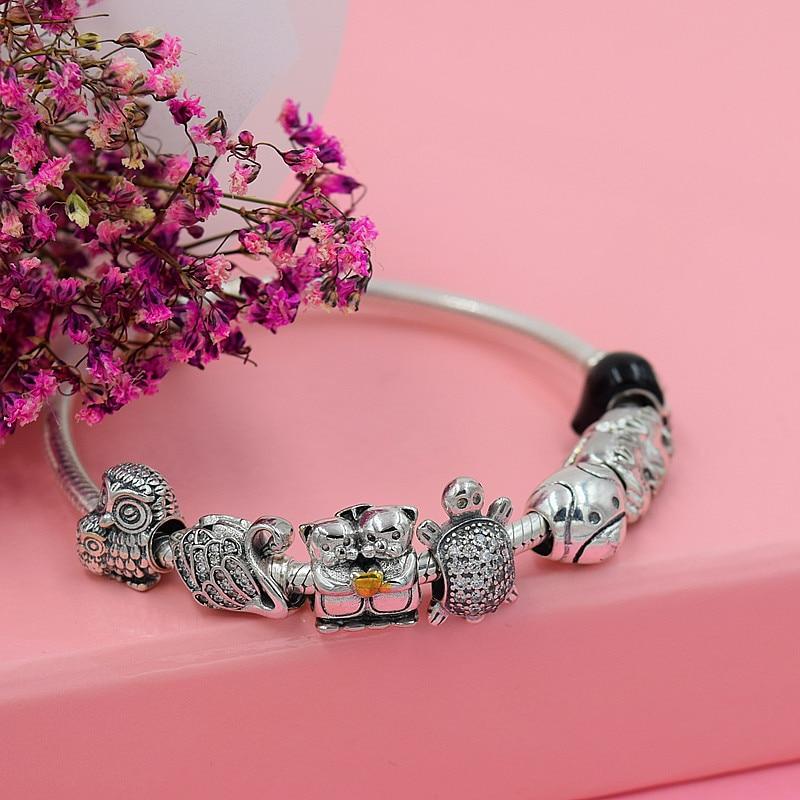 vroče 925 srebro evropski kubični cirkonij Charm kroglice Fit - Modni nakit - Fotografija 2