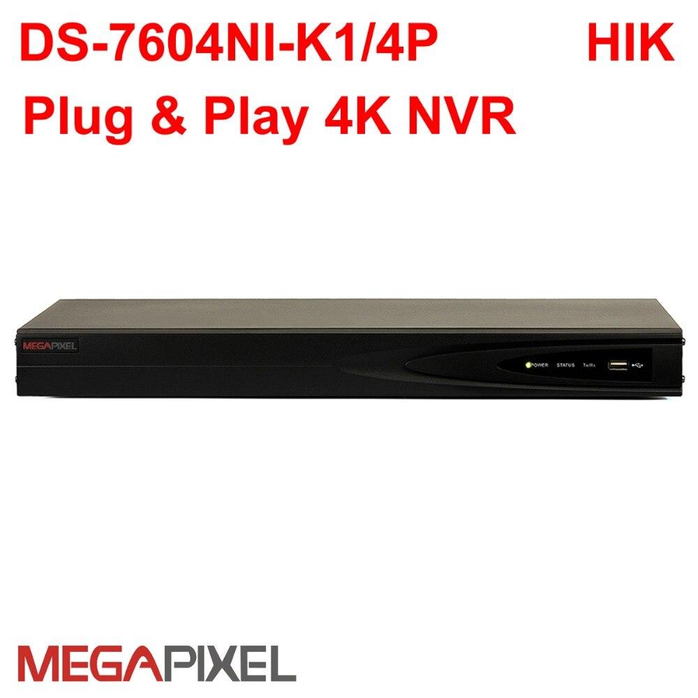 Hikvision POE NVR DS-7604NI-K1/4 P suporte 8mp câmera IP Embedded 4 k P2P CCTV rede gravador de vídeo vigilância sistema