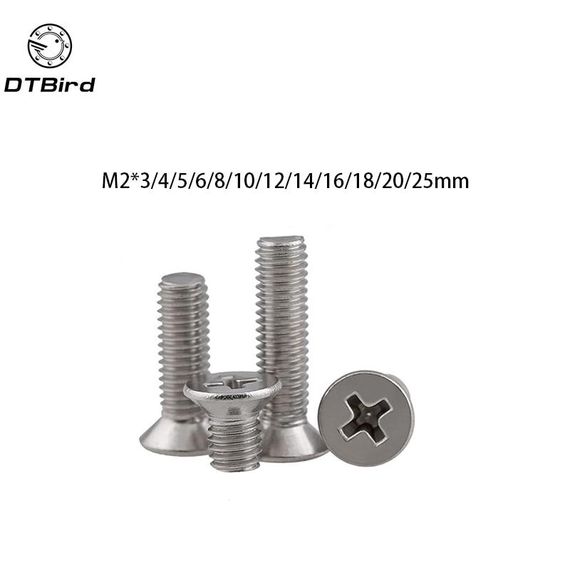 Metric Thread GB819 M2 304 Stainless Steel flat head cross Countersunk head screw m2*(3/4/5/6/8/10/12/14/16/18/20/25) axk 100pcs gb819 m4 304 stainless steel metric thread flat head cross countersunk head screw m4 6 8 10 12 14 16 18 20 25 80 mm
