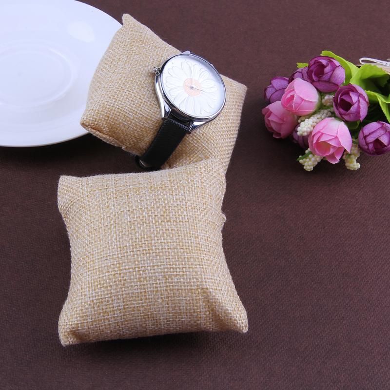12pcs Watch Pillow Small Linen Flannelette Bracelet Watch Pillow Jewelry Concise Displays 8*8cm 2018 New Arrival charming anchor printed square new composite linen blend pillow case