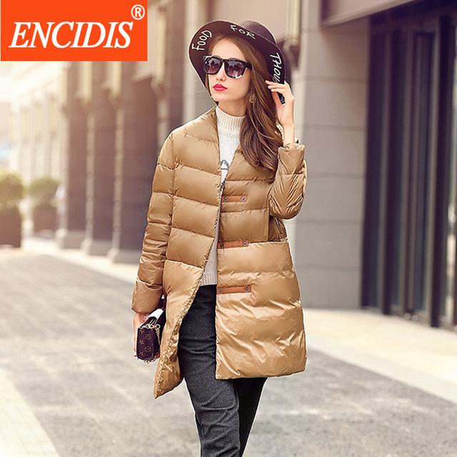 Venda quente Das Mulheres Para Baixo Casaco de Inverno 2016 Novas Senhoras Originais Botão de Ouro Casaco vestido Solto Gola Casacos Femininos Casacos Longos Y156