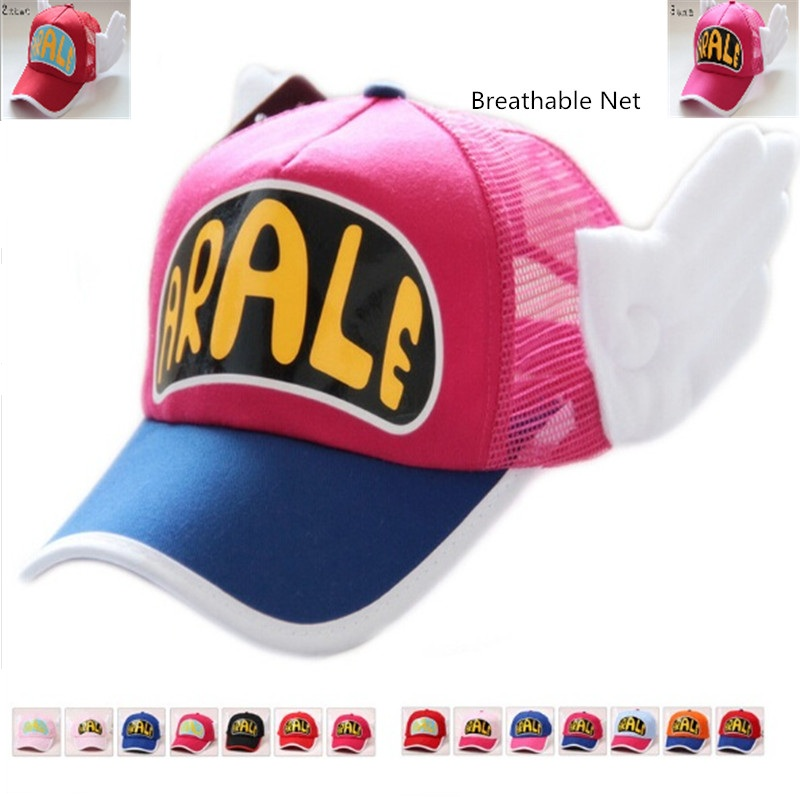 New Coming Anime Cosplay Breathable Net Cap Hats Dr.Slump Arale Angel Wings Summer Colorful Mesh Cap for Adult Size Adjustable(China)