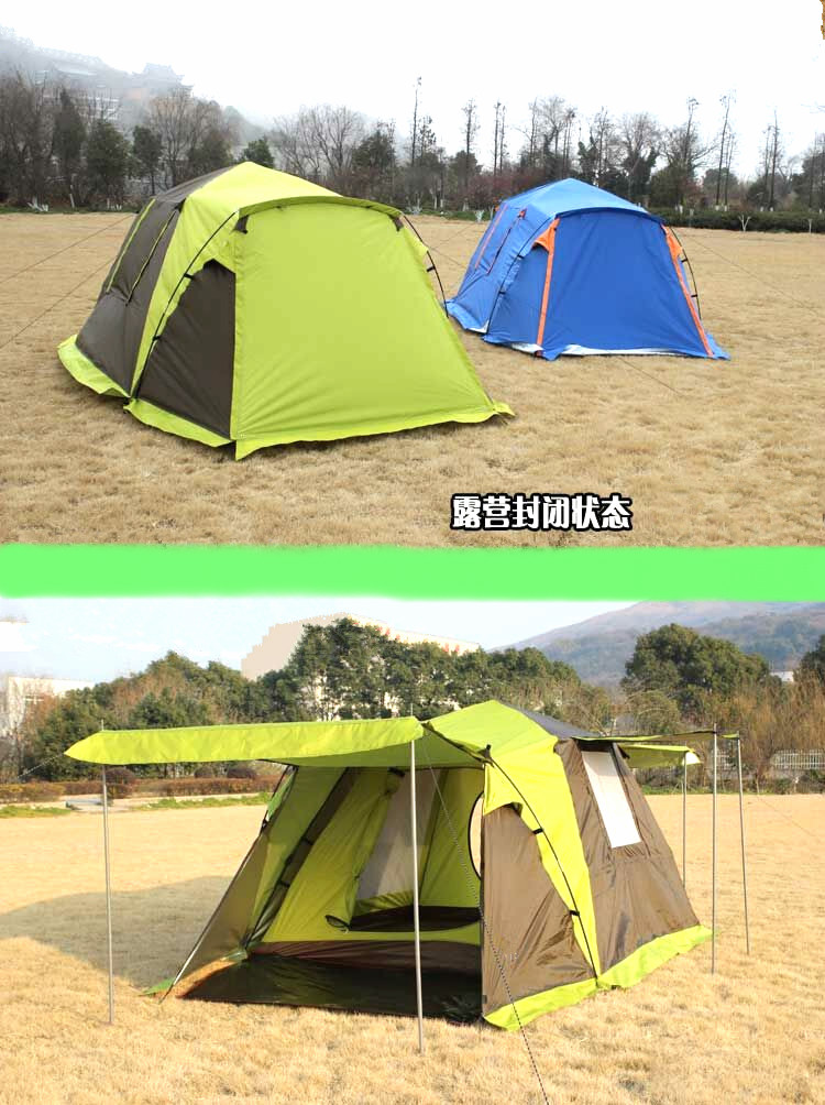 With snow skirt!Camel 2doors 3 - 4persons fully-automatic tent automatic camping family tent in good quality family travel tent недорго, оригинальная цена
