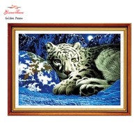 Golden Panno Needlework DIY DMC Cross Stitch Sets For Embroidery Kits 5D Leopard Factory Direct Sale