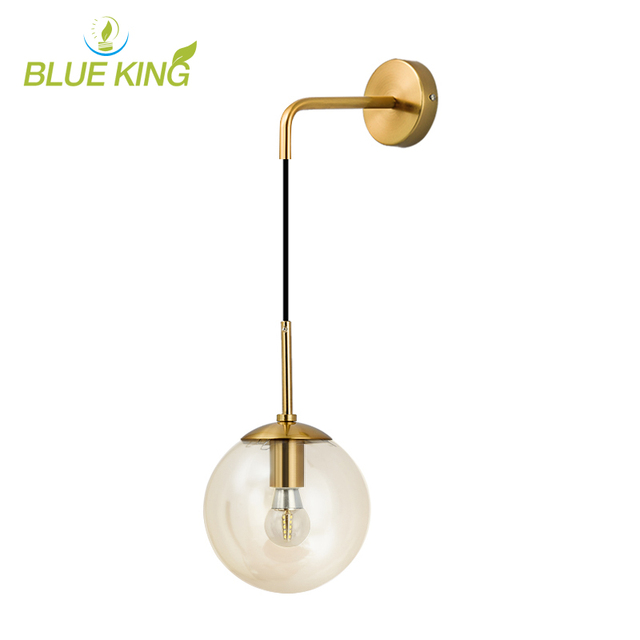 Nordic Modern LED Wall Lamp Glass Ball Bathroom Mirror Beside American Retro Wall Light Sconce Bedside Aisle Decor Lights  gold