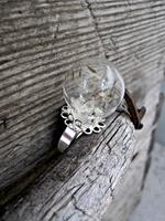 Real dandelion ring , dandelion seed jewelry , good luck ring , dandelion wish , mini jewelry in silver tone