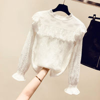 Thick Women Velvet Basic Shirts New Spring Autumn Hollow Out Lace Long Sleeve Female Pullovers Top Solid Color Blouses All match