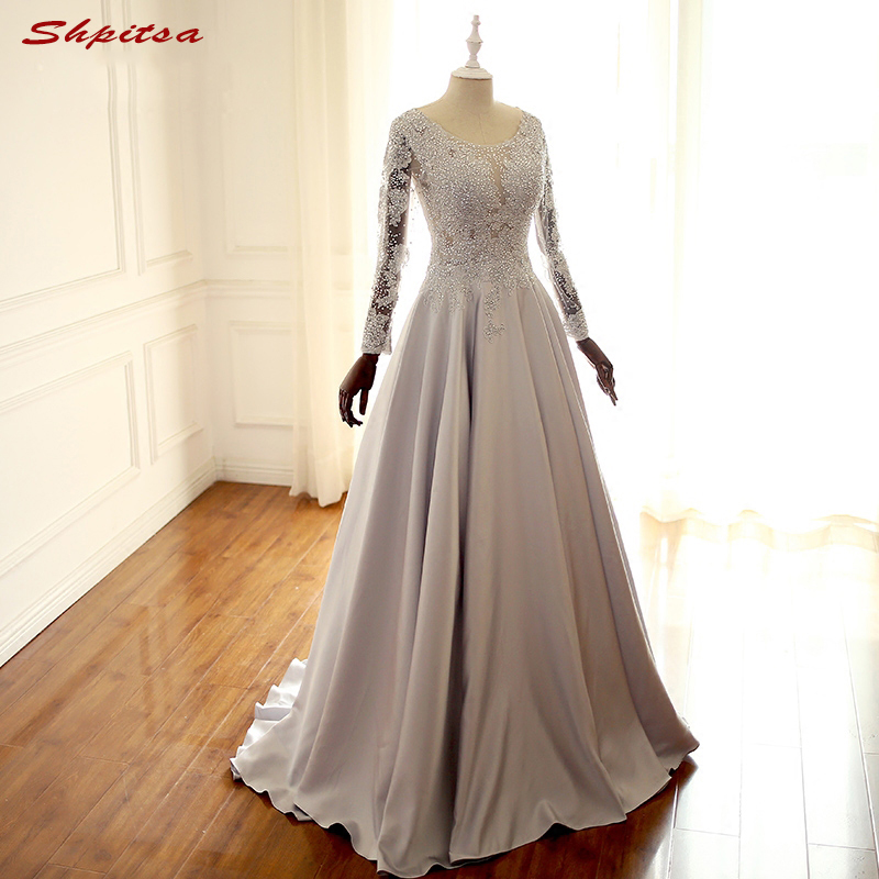 Elegant Long Sleeve Lace Evening Dresses for Wedding Party Beaded ...