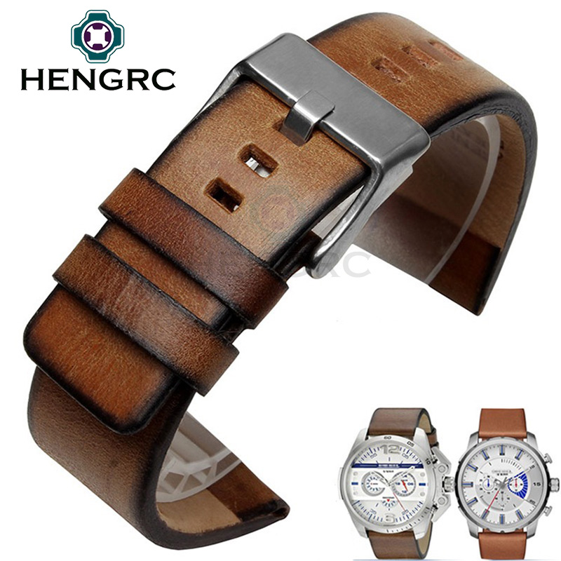 HENGRC Retro Genuine Cowhide Leather Watch Band Strap Men Brown 24mm Watchband Belt Steel Metal Buckle For Panerai Accessories high quality genuine leather watchband 22mm brown black wrist watch band strap wristwatches stitched belt folding clasp men