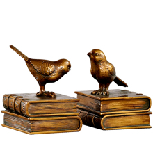 Bookcase Study Ornaments Retro Bird Bookends Creative Resin Decoration Bookshelf Bookends Home Decoration Bookends Adornment