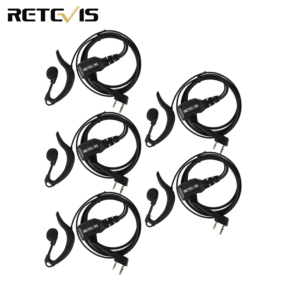 5pcs Retevis R-111 G Type PTT Earpiece Adjustable Volume PU Wire Tensile For Kenwood Retevis H777 BAOFENG UV-5R BF-888S C9037A