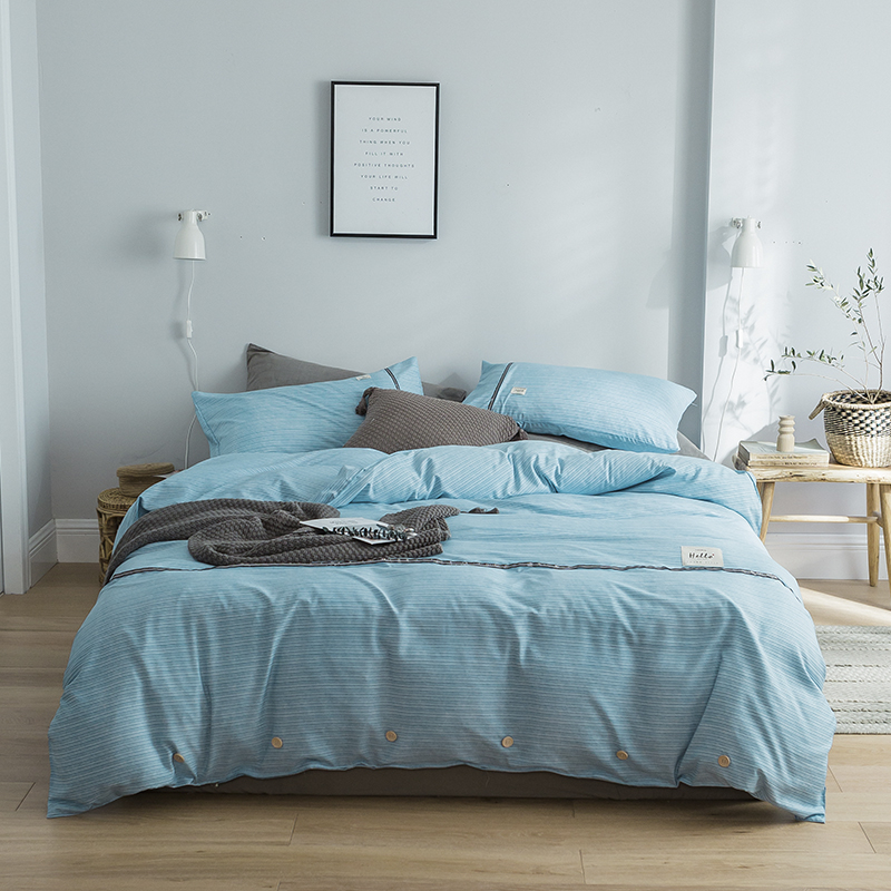 Brief Style Nordic Stripe Bedding Sets 3 4 pcs Washed Cotton Duvet Cover Pillowcase Flat Bed Sheet Single Double Twin Size